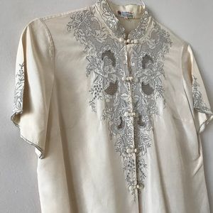 44c1b90d3ebbc0 Vintage Tops - Vintage Peony Brand Embroidered Silk Blouse